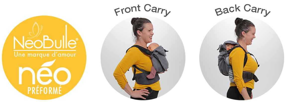 Neobulle Neo Baby Carrier can be used to carry your baby on your front or your back.